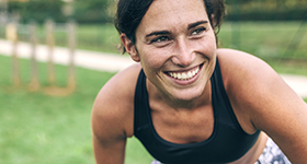 Active woman smiling